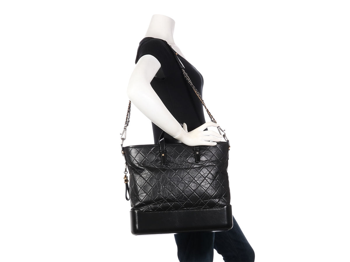 acb658ad200808 Chanel Large Black Calfskin Gabrielle Shopping Tote