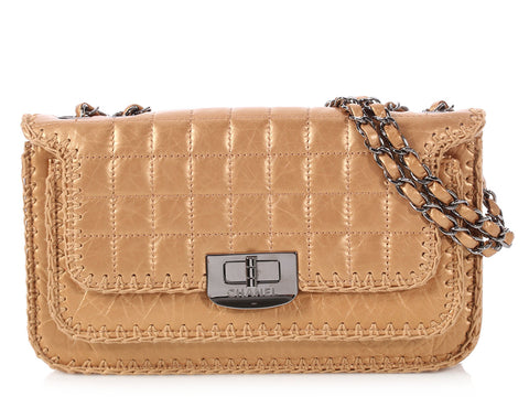 Chanel Small Gold Quilted Distressed Calfskin Whipstitched Flap