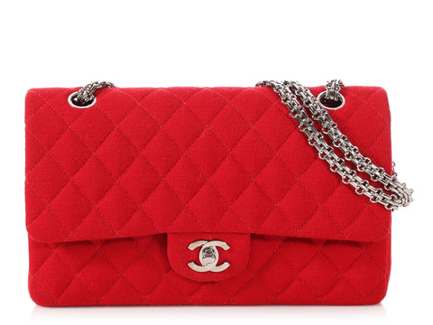 Chanel Medium/Large Red Jersey Classic Double Flap