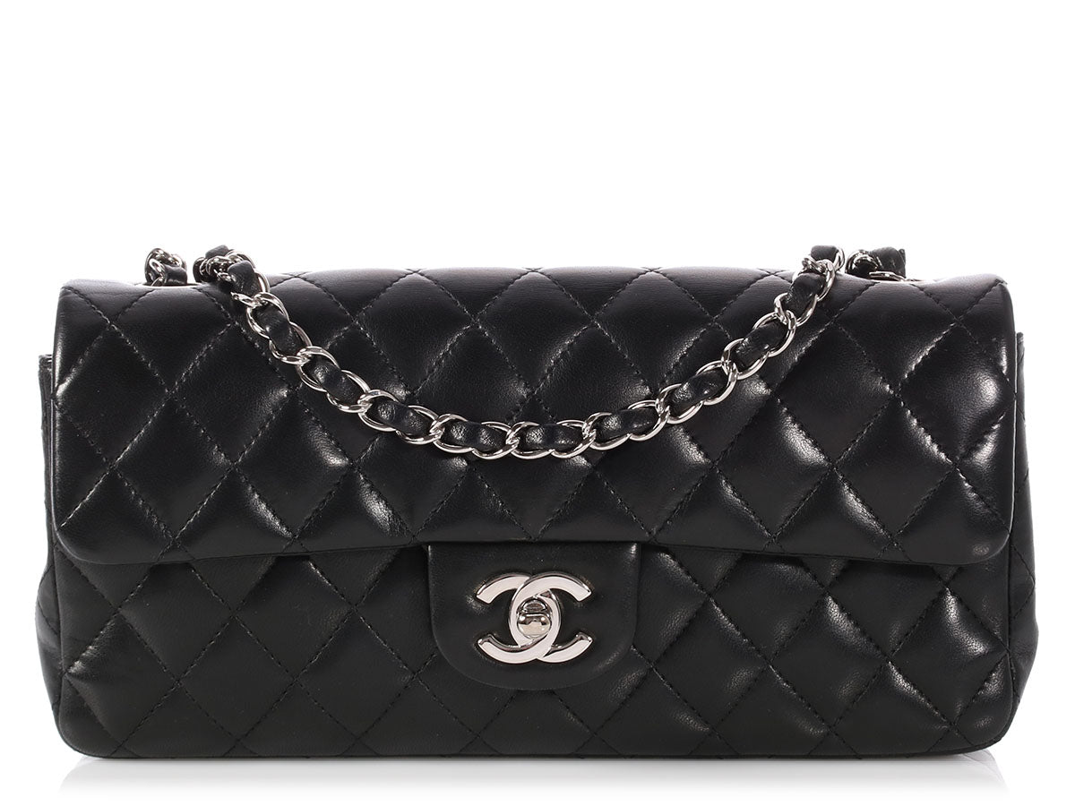 Chanel Black Quilted Lambskin East West Flap