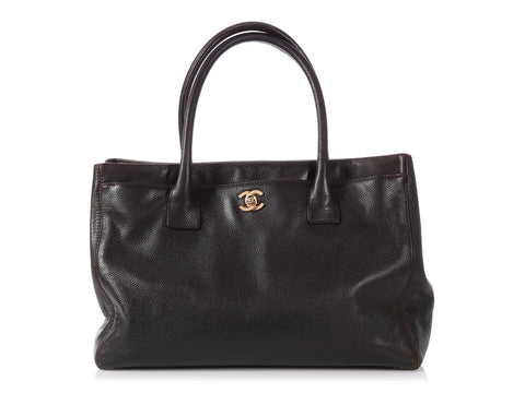 Chanel Dark Brown Caviar Executive Cerf Tote