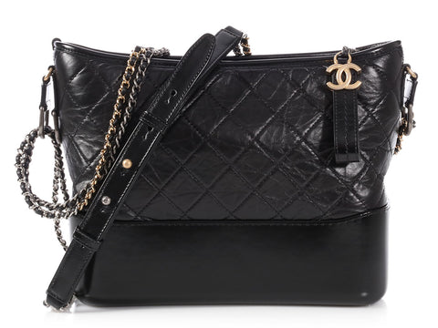 Chanel Medium Black Quilted Distressed Calfskin Gabrielle Hobo