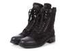 Chanel Black Lace Up Combat Boots