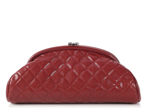 Chanel Dark Red Caviar Timeless Clutch