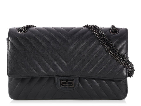Chanel So Black Chevron Quilted Calfskin Reissue 226