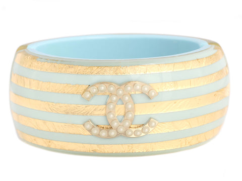 Chanel Blue, Gold, and Pearl Hinged Logo Bracelet