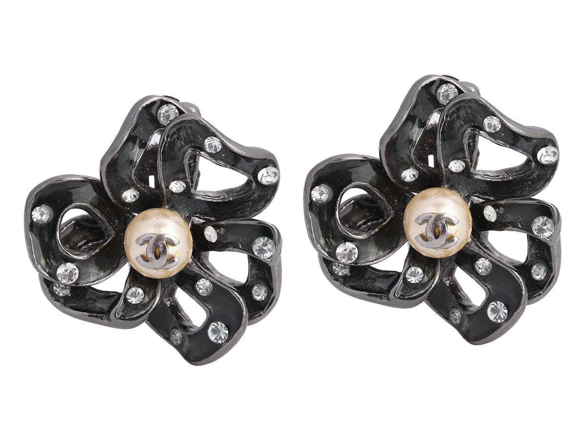 Chanel Pearl and Crystal Logo Flower Clip Earrings