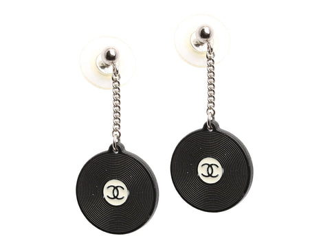 Chanel Black Resin Record Logo Earrings