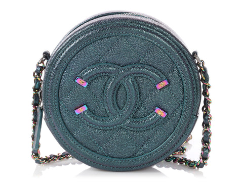 Chanel Dark Turquoise Iridescent Quilted Caviar Round Crossbody