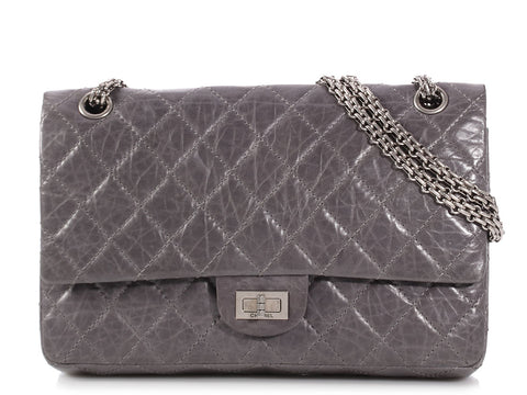 f829880a89a8 Chanel Gray Quilted Distressed Calfskin Reissue 226