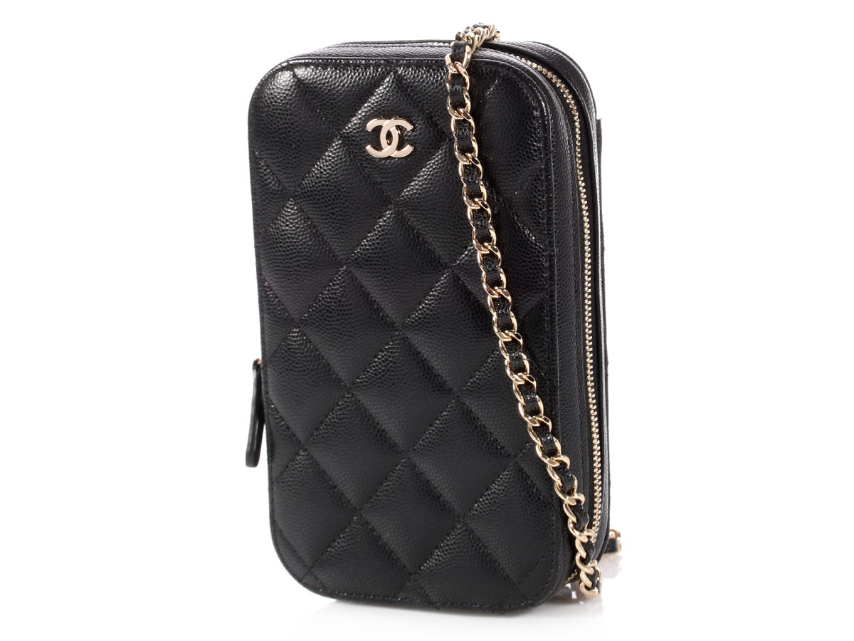e56345421724ff Chanel Black Quilted Calfskin Crossbody Phone Case