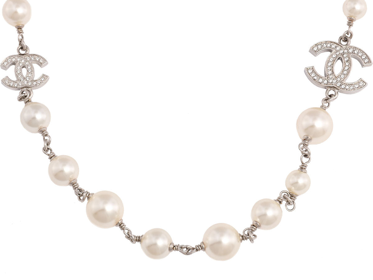 Chanel Long Pearl and Crystal Logo Necklace