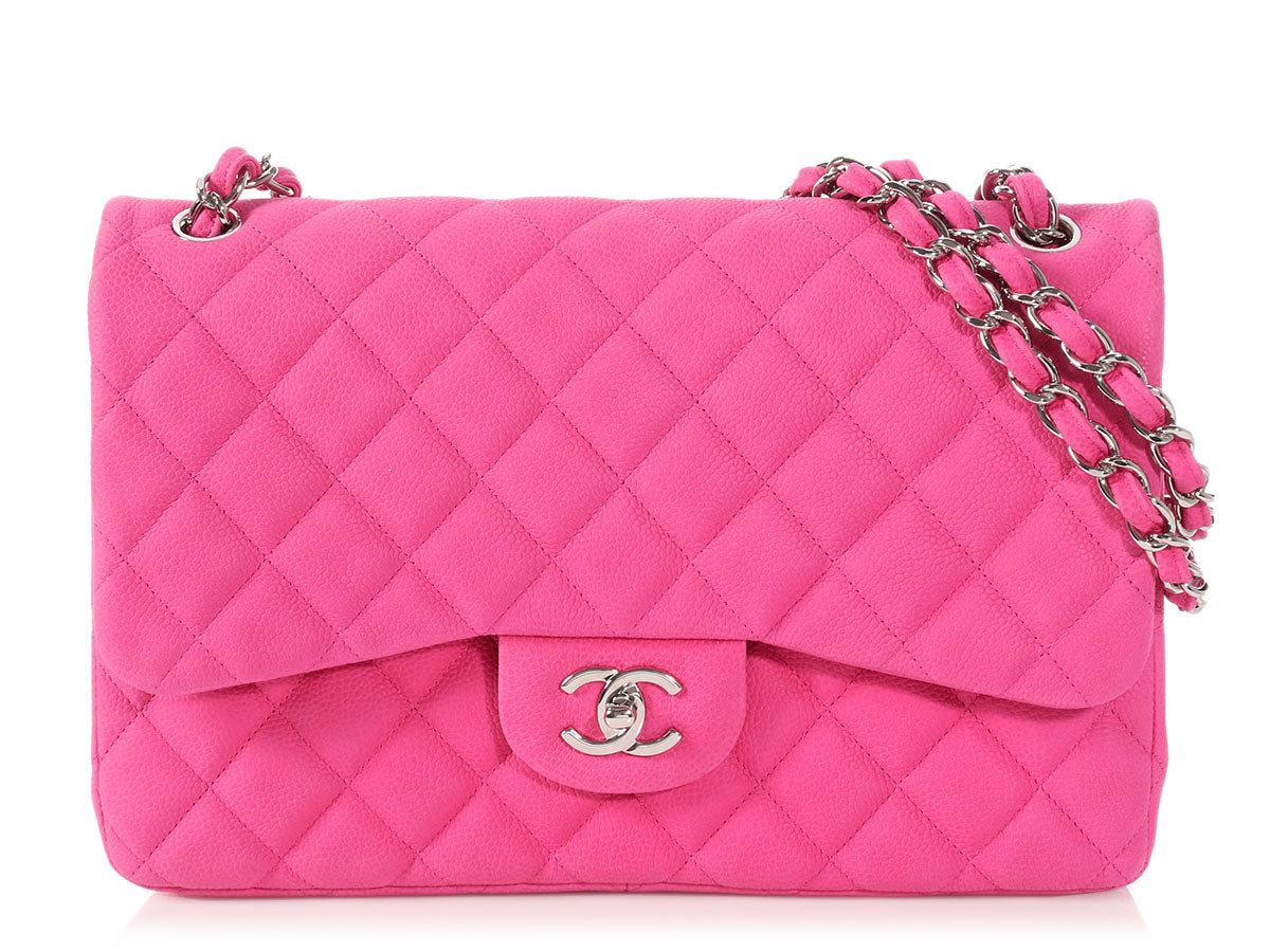 Chanel Jumbo Pink Quilted Matte Caviar Classic Double Flap