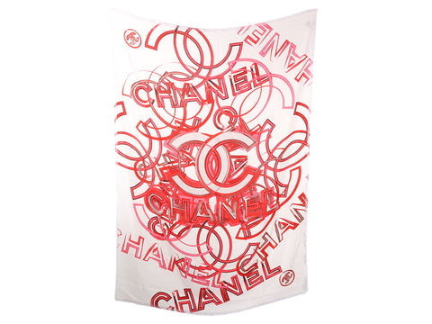 Chanel White and Red CC Silk Shawl