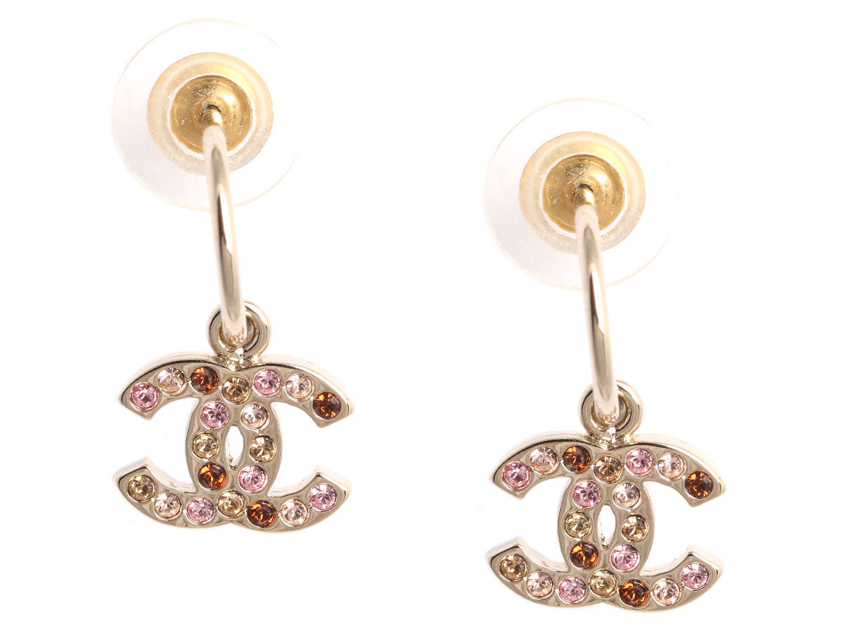 Chanel Pink Crystal Logo Drop Earrings