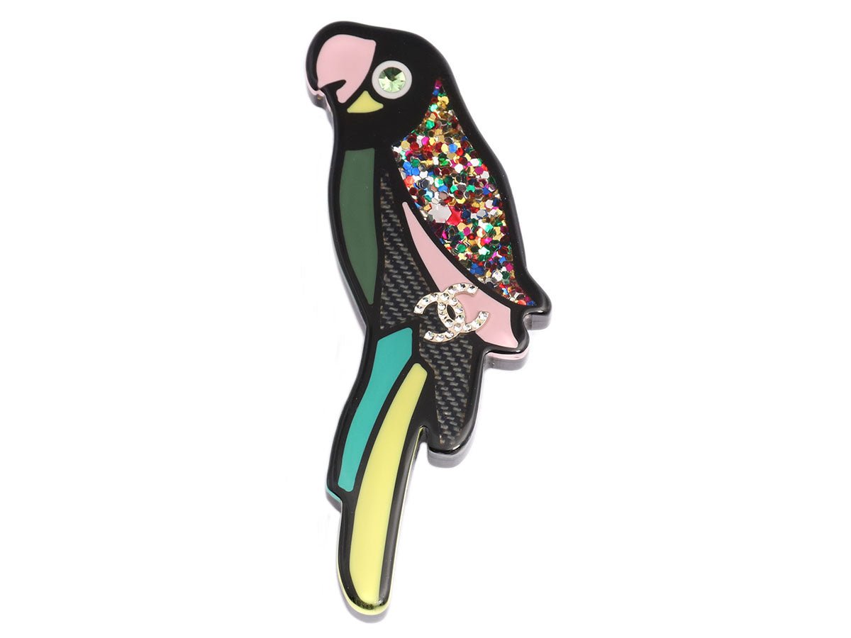 Chanel Black Resin and Crystal Logo Parrot Pin