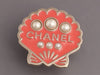 Chanel Coral Enamel and Pearl Shell Pin