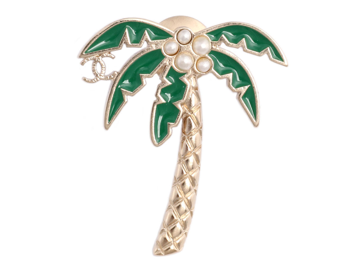 Chanel Green Enamel and Pearl Logo Palm Tree Pin