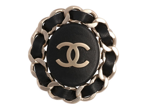 Chanel Leather and Chain Oval Logo Pin