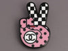 Chanel Pink and Black Logo Peace Sign Pin
