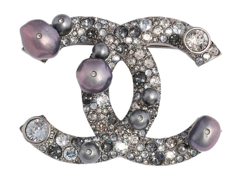 Chanel Crystal and Pearl Logo Cosmos Pin