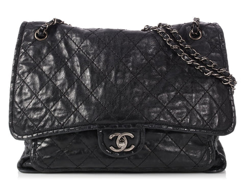 Chanel Large Black Distressed Quilted Calfskin Paris-Edinburgh Flap