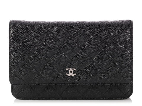 Chanel Black Quilted Caviar Wallet on a Chain WOC