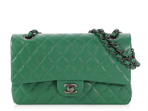Chanel Medium/Large Green Quilted Caviar Classic Double Flap