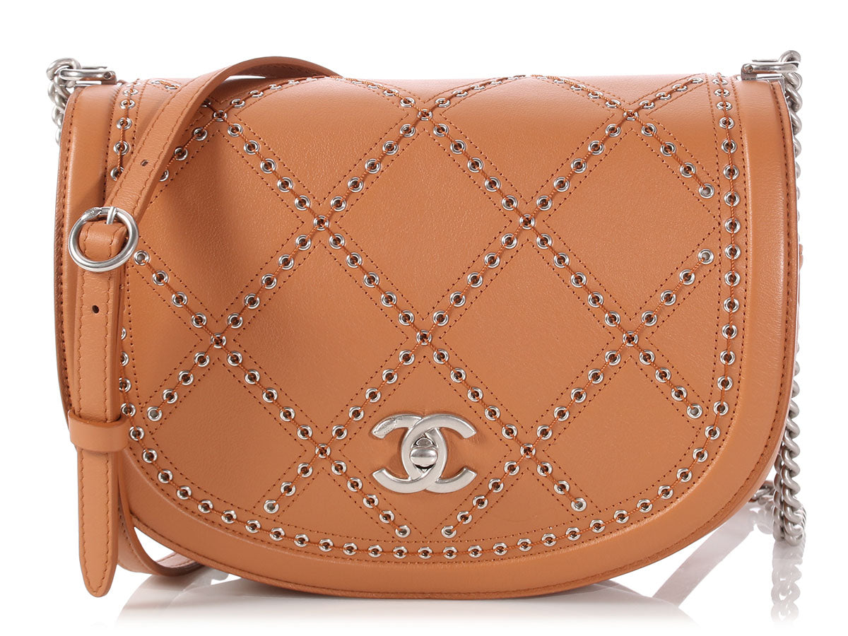 Chanel Tan Calfskin Coco Eyelets Round Flap Bag
