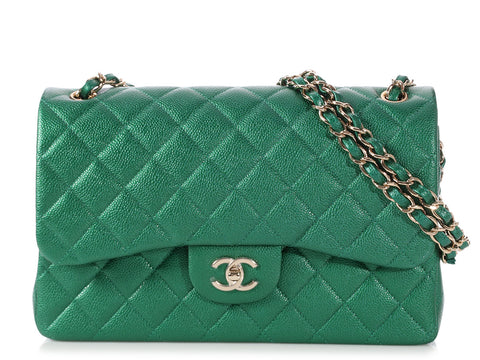 Chanel Jumbo Pearly Green Quilted Caviar Classic Double Flap