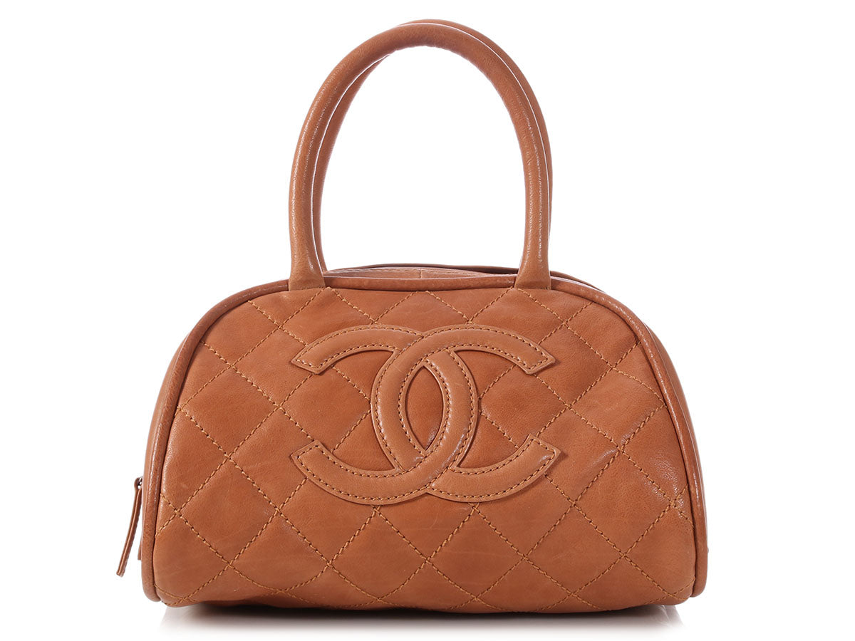 Chanel Small Caramel Part-Quilted Calfskin Bowler
