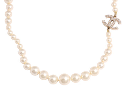 Chanel Long Pearl Crystal Logo Necklace