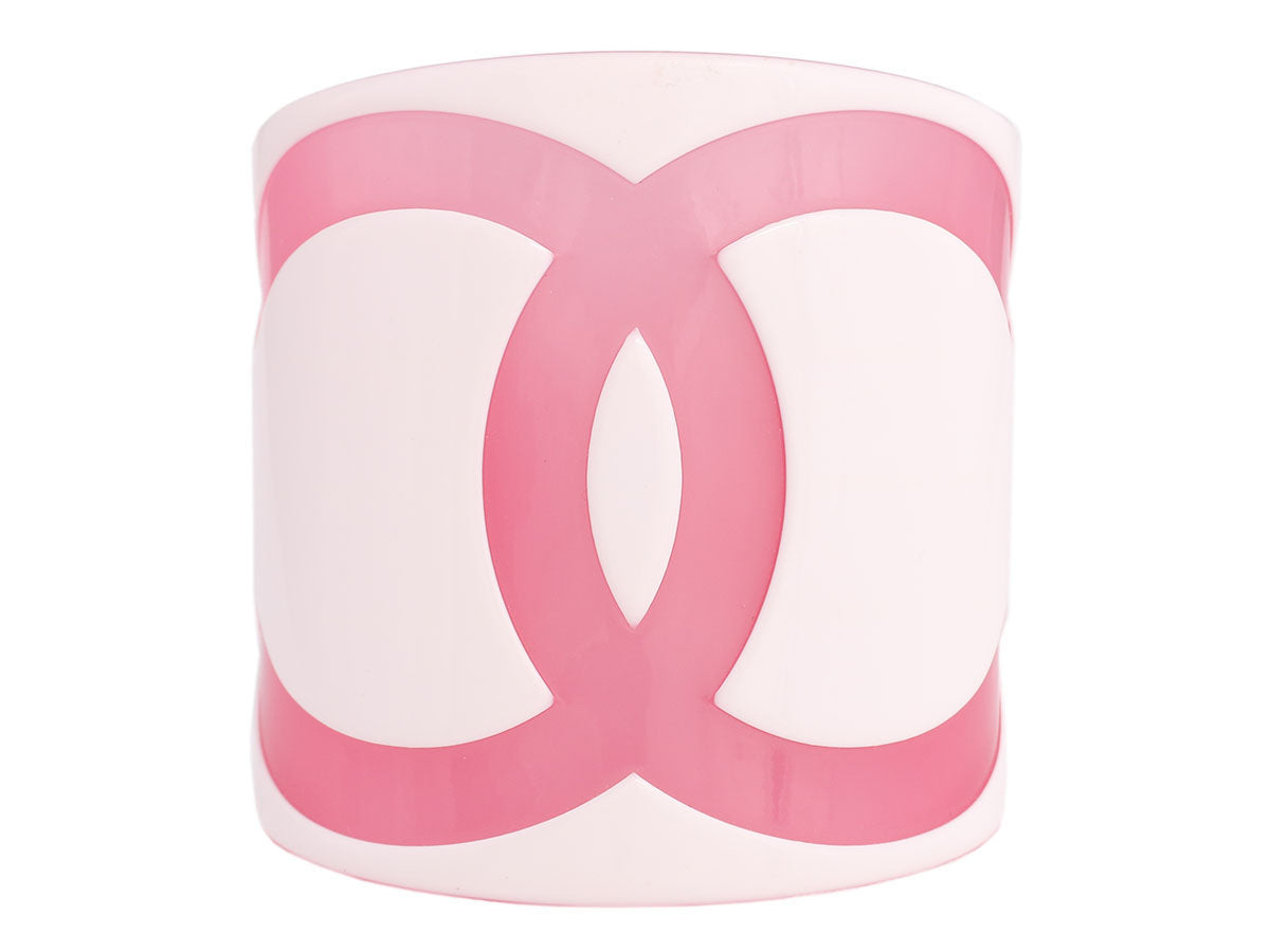 Chanel White and Pink Resin Cambon Cuff Bracelet