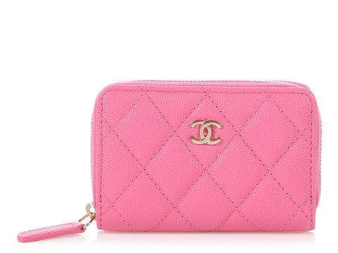 Chanel Pink Quilted Caviar Zip Around Coin Purse