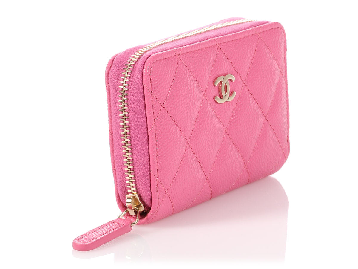 a39cd3c7ff28 Chanel Pink Quilted Caviar Zip Around Coin Purse