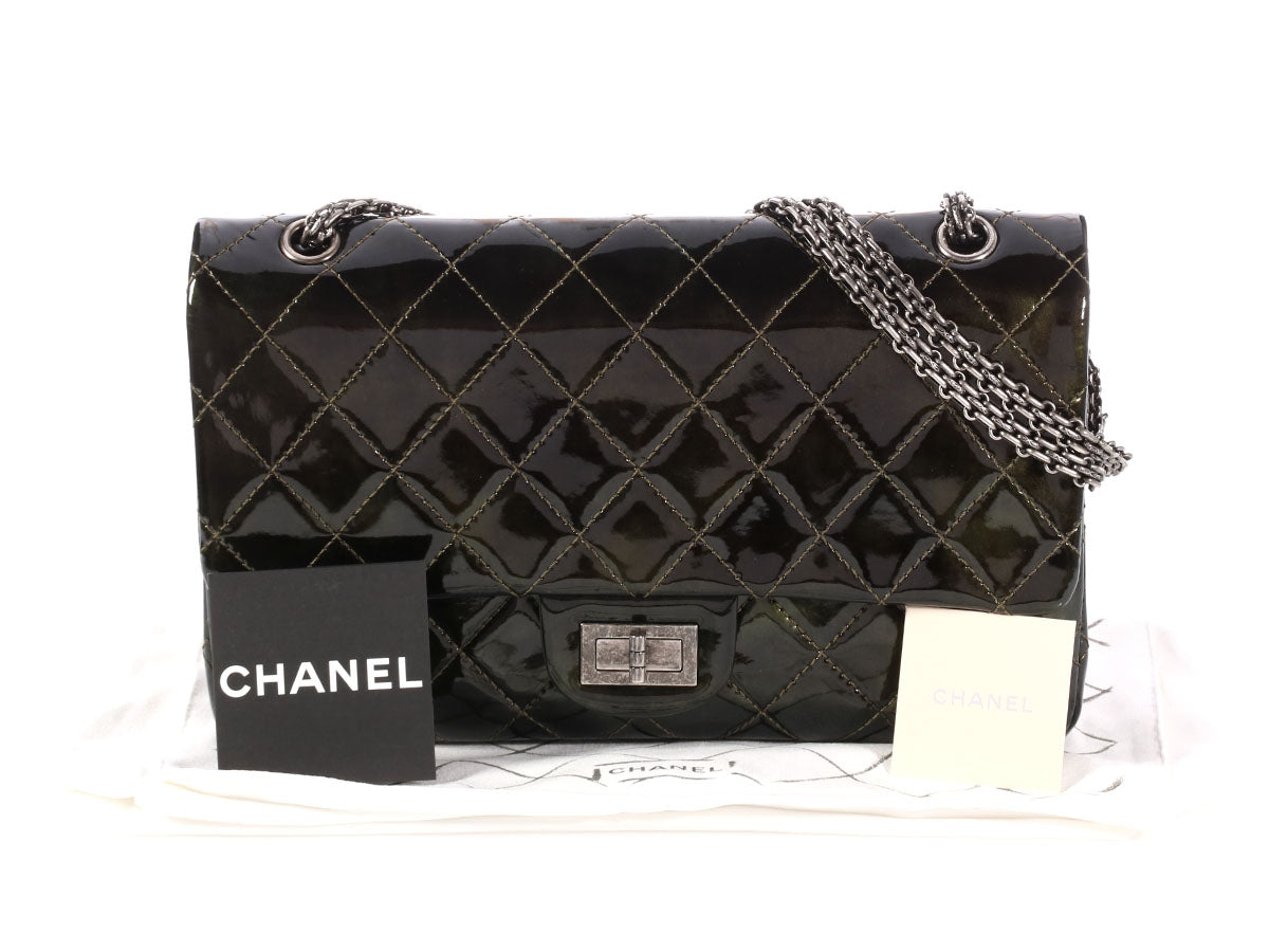 e9570a413f5a Chanel Metallic Dark Green Quilted Patent Reissue 227 Double Flap