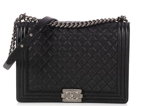 2c28227b210f Chanel Extra Large Black Quilted Caviar Boy