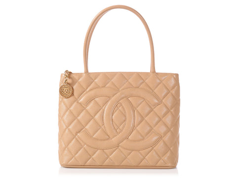 Chanel Beige Quilted Caviar Medallion Tote