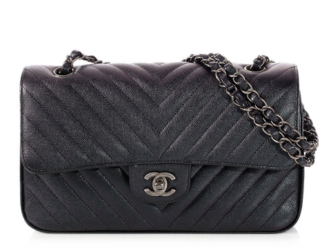 Chanel Medium/Large Black Chevron Quilted Caviar Classic Double Flap
