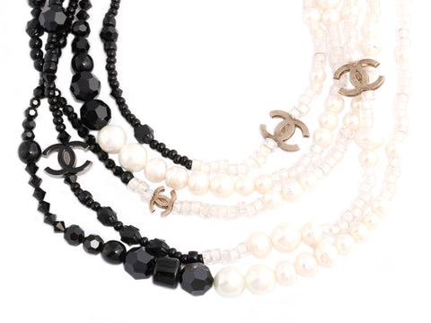 Chanel White and Black Five-Strand Logo Runway Necklace