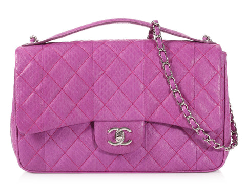 Chanel Violet Quilted Water Snake Modern Flap
