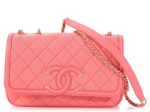 Chanel Small Coral Caviar CC Filigree Flap