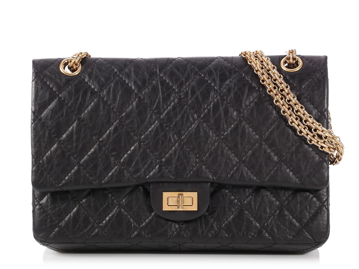 Chanel Black Quilted Distressed Calfskin Reissue 226 Double Flap