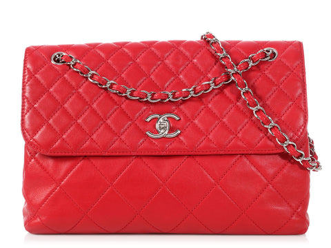 Chanel Large Red Quilted Lambskin In the Business Flap