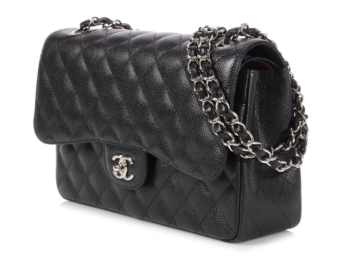 c886dd619237 Chanel Jumbo Black Quilted Caviar Classic Double Flap