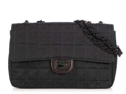 Chanel Black Quilted Fabric Travel Ligne Flap 22834b9316bac