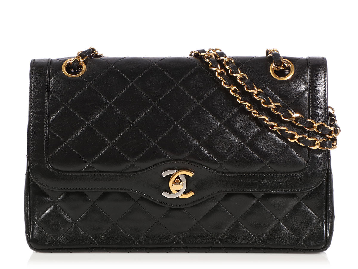Chanel Vintage Black Part-Quilted Lambskin Double Flap
