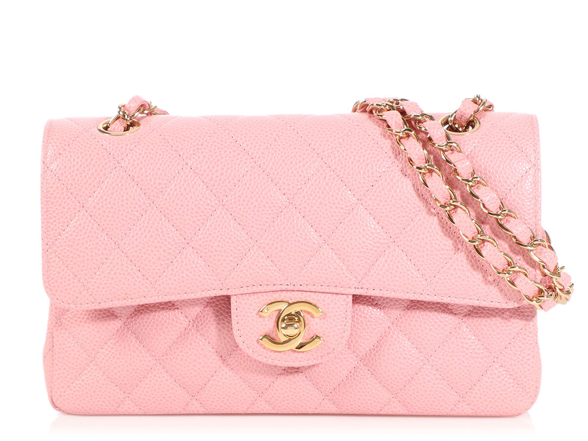 Chanel Small Pink Quilted Caviar Classic Double Flap