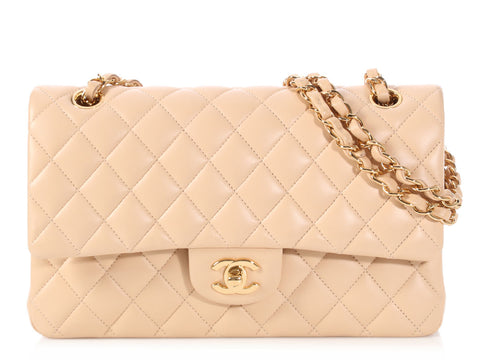 ac02dd7bfd01 Chanel Medium Large Beige Quilted Lambskin Classic Double Flap
