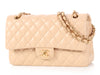 Chanel Medium/Large Beige Quilted Lambskin Classic Double Flap